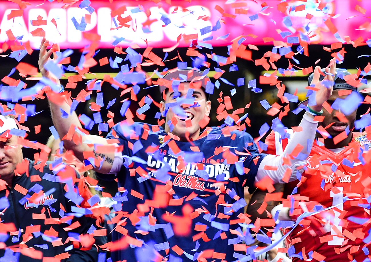 Chad Kelly of Ole Miss drowns in confetti after the 2016 Allstate Sugar Bowl against Oklahoma State.
