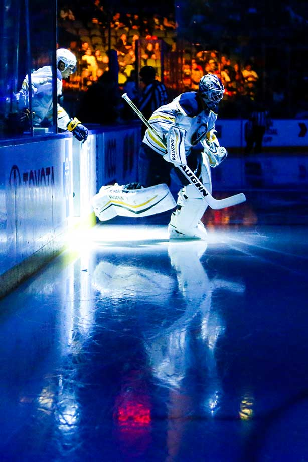 Buffalo Sabres goalie Chad Johnson skates on the ice during pregame ceremonies against the Montreal Canadiens.