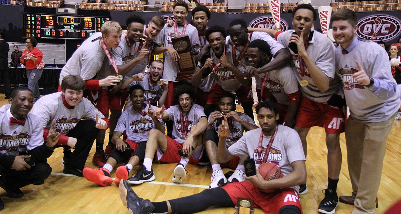 Austin Peay players and staff celebrate after qualifying for the NCAA Tournament.