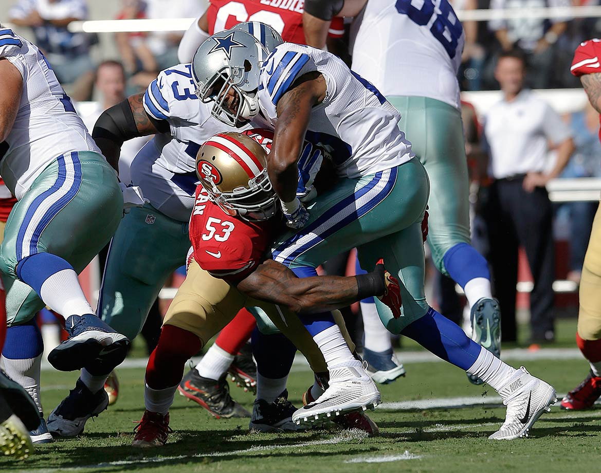 Sure, the Cowboys have the best offensive line in the NFL, but they lost the NFL's leading rusher in DeMarco Murray, and they replaced him on their roster with the NFL's leading limper (Darren McFadden).