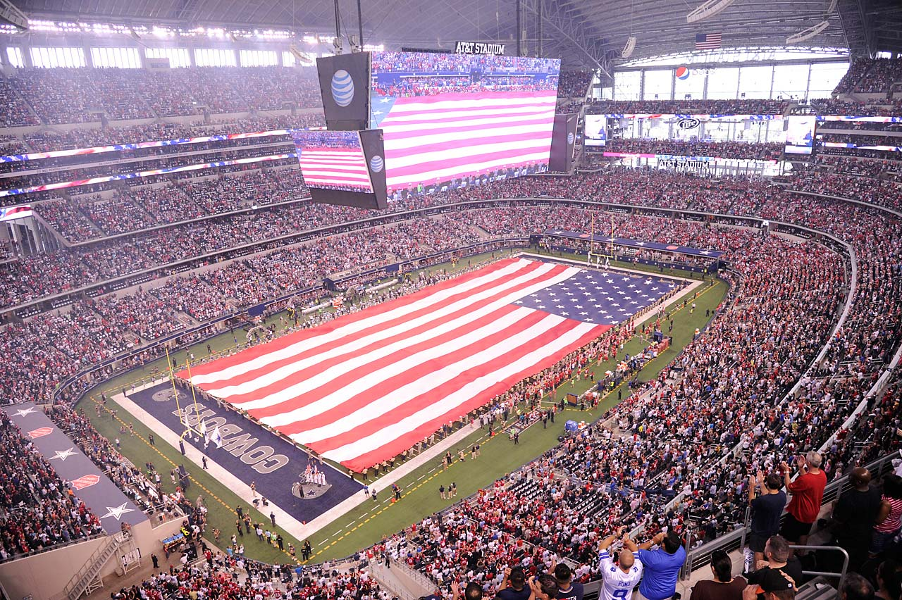 The view before kickoff between the Dallas Cowboys and San Francisco 49ers in Arlington.