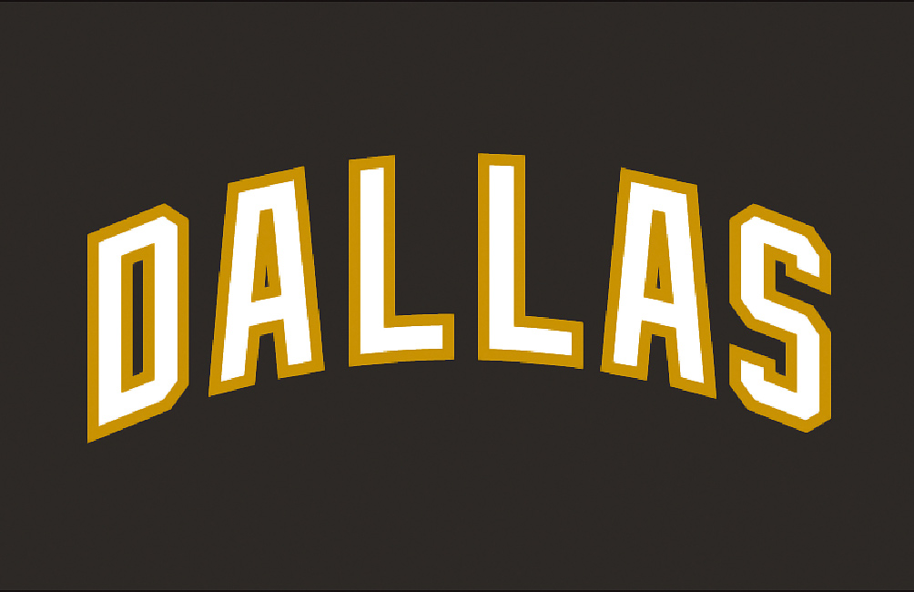 "Consider this a stand-in for every word mark logo ever used in NHL history. There's nothing ""vintage"" about these designs. They're lazy and unimaginative. And sometimes just stupid. You can at least make a case for using a Dallas word mark on jerseys worn on the road. But for homes, like these? Did anyone bother to show up at the meeting or were these adopted in absentia?"