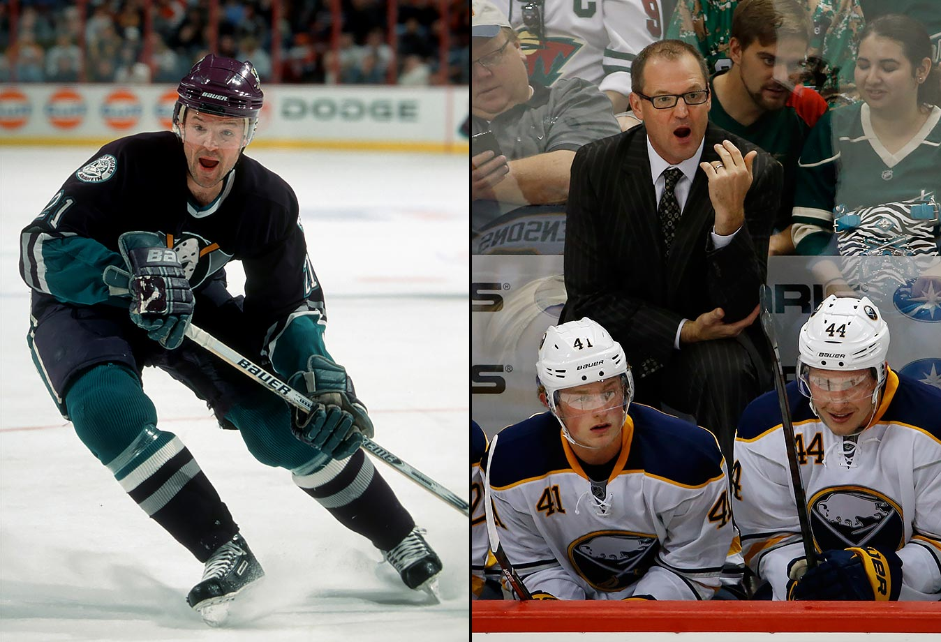 A brainy high school golf and baseball star, Bylsma played college hockey at Bowling Green. He was drafted by Winnipeg in the sixth round of the 1989 NHL Draft but later signed with the Kings. A defensive forward, he spent his nine seasons in the NHL with L.A. and the Mighty Ducks of Anaheim, for whom he became an alternate captain. Bylsma, who coached the Pittsburgh Penguins to a Stanley Cup in 2009 after replacing Michel Terrien through most of the season, was named head coach of the Buffalo Sabres prior to the 2015-16 season. Through his first season as head coach, Bylsma is 35-36-11.