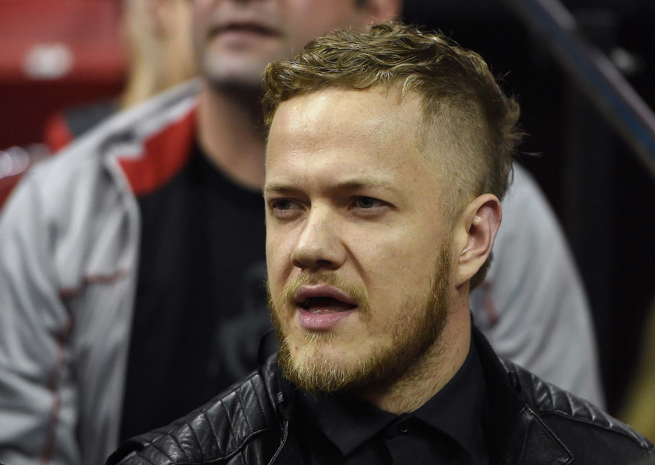 Singer/drummer Dan Reynolds of the band Imagine Dragons attends a 2014 game between the Morehead State Eagles and the UNLV Rebels at the Thomas & Mack Center in Las Vegas.