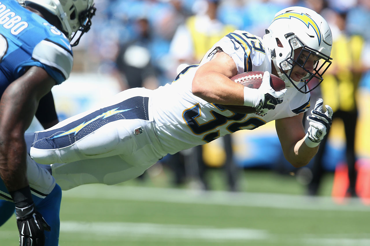 Running back Danny Woodhead of the San Diego Chargers scores a touchdown against the Detroit Lions.