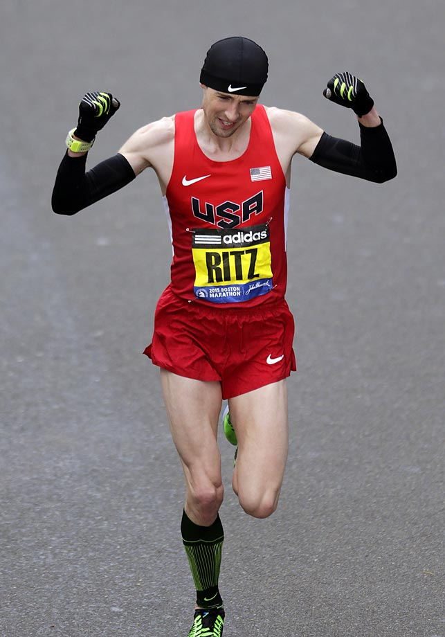 Dathan Ritzenhein, of Rockford, Mich., finished seventh overall in his first Boston Marathon.  He was the top American finisher.