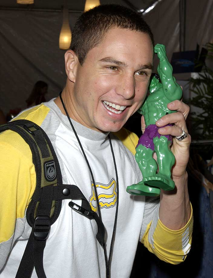 Dave Mirra with The Hulk during Nickelodeon's 16th Annual Kids Choice Awards.