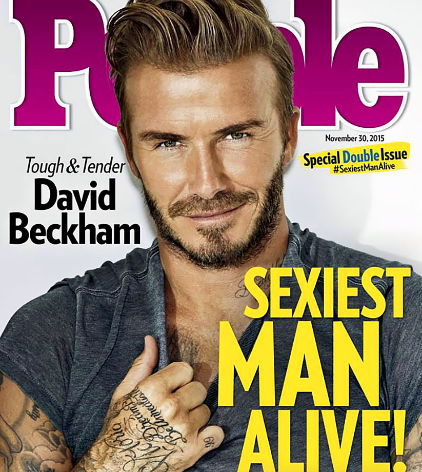 "Beckham is named the ""Sexiest Man Alive"" for 2015 by People magazine. He is the first professional athlete to win the Sexiest Man Alive mantle since the magazine began handing it out in 1985."