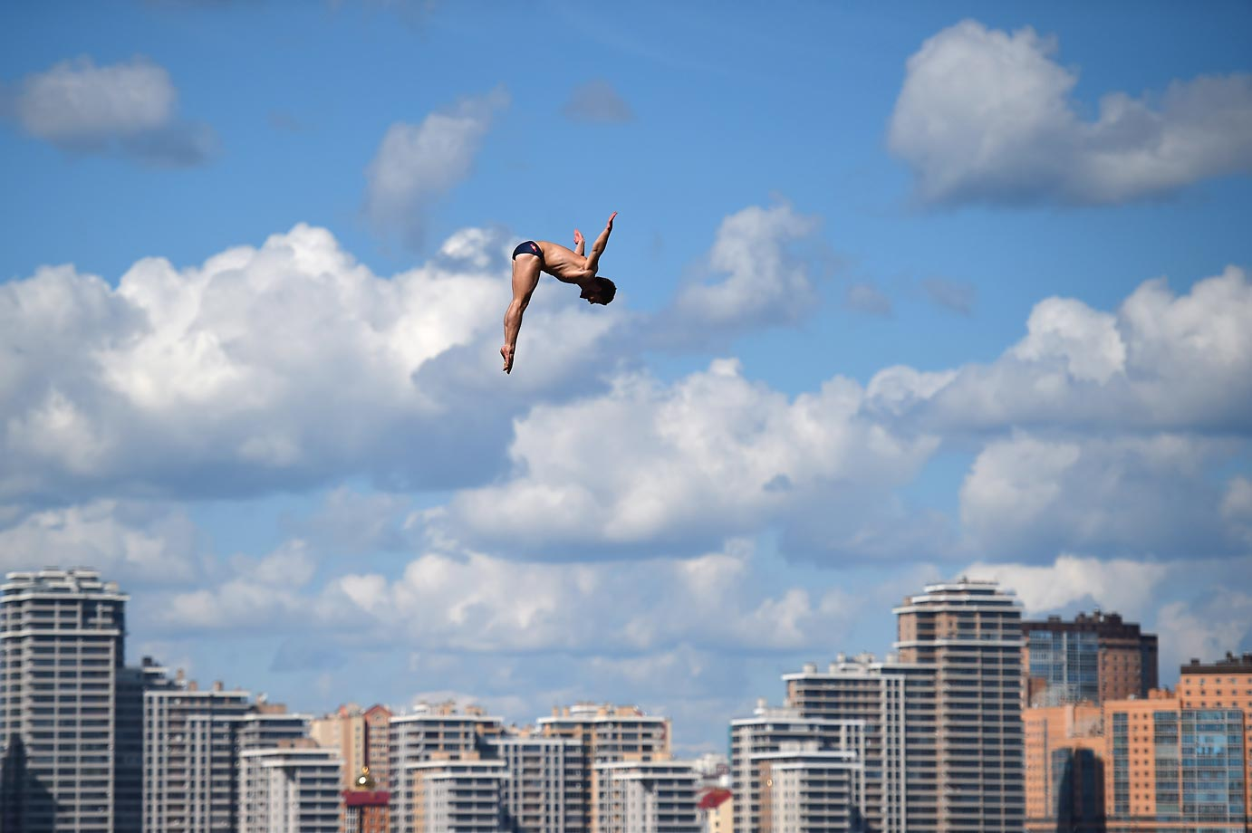David Colturi during the High Diving 27m preliminary at the 16th FINA World Championships in Kazan, Russia.