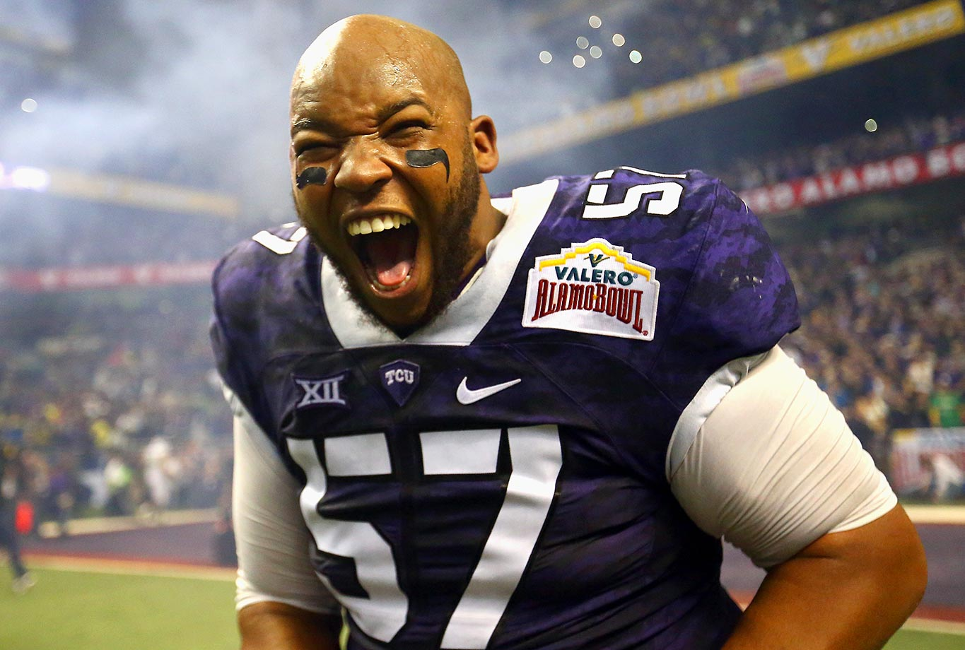 Davion Pierson of the TCU Horned Frogs celebrates after his team won the Valero Alamo Bowl.