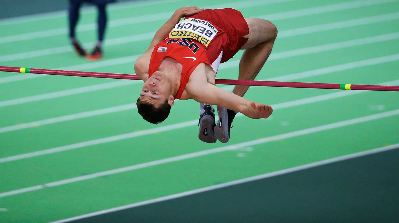 Curtis Beach of the U.S. clears the bar in the high jump of the heptathlon during the World Indoor Athletics Championships.
