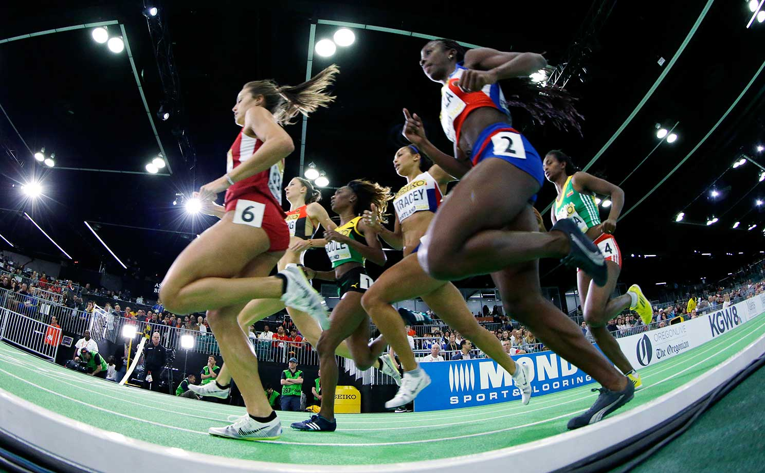 U.S. sprinter Laura Roesler (6) runs in a heat of the 800 during the World Indoor Athletics Championships.