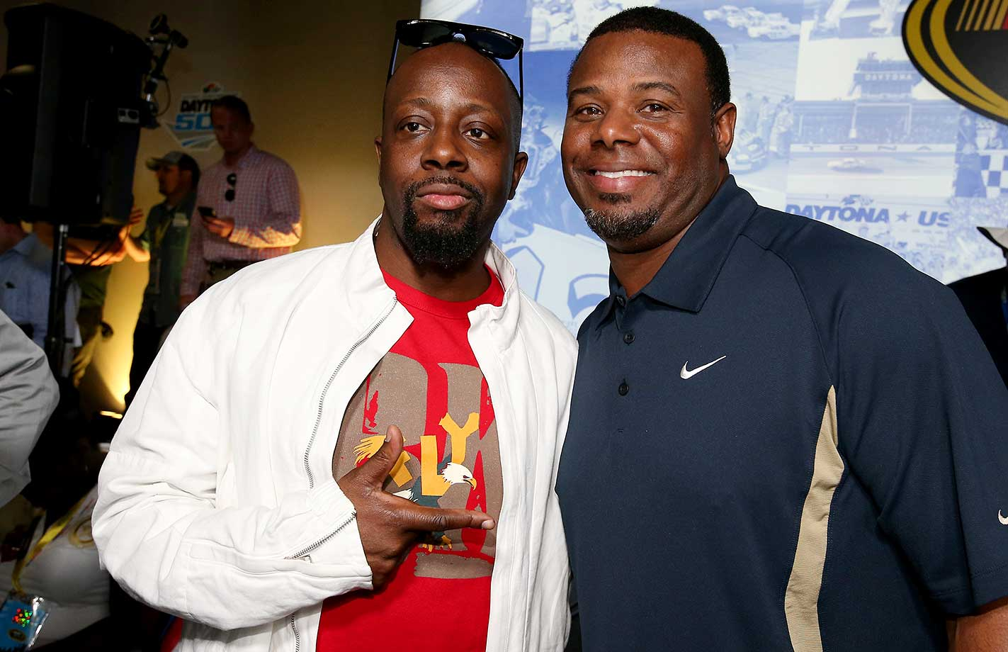 Wyclef Jean poses with Ken Griffey Jr. before Sunday's race.