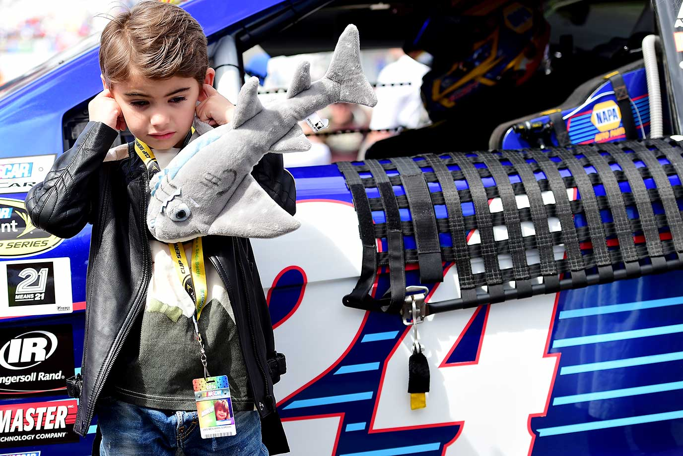 Leo Gordon, son of Jeff Gordon, stands on the grid prior to the start of the race.