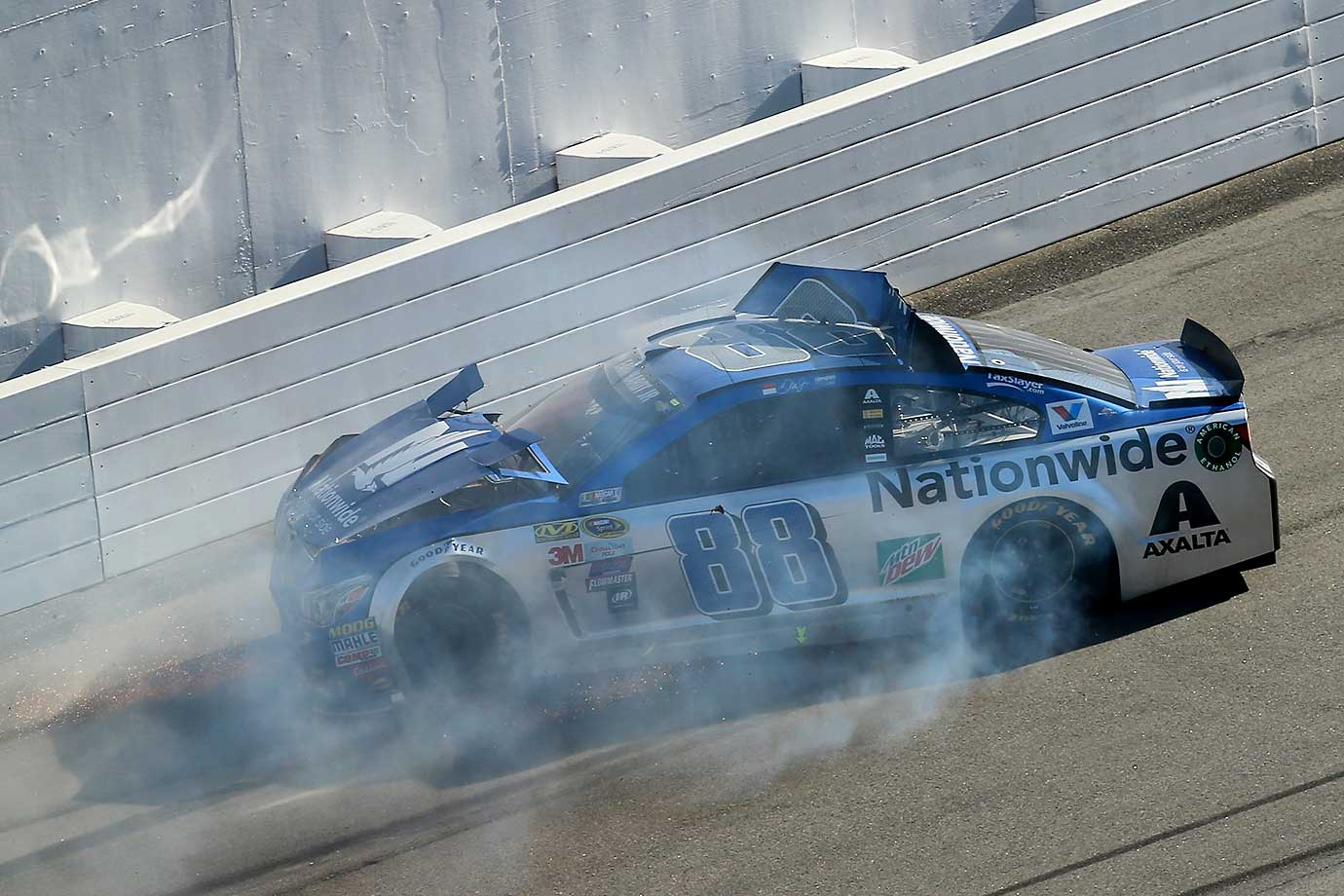 Dale Earnhardt Jr. hits the wall at the Daytona 500.