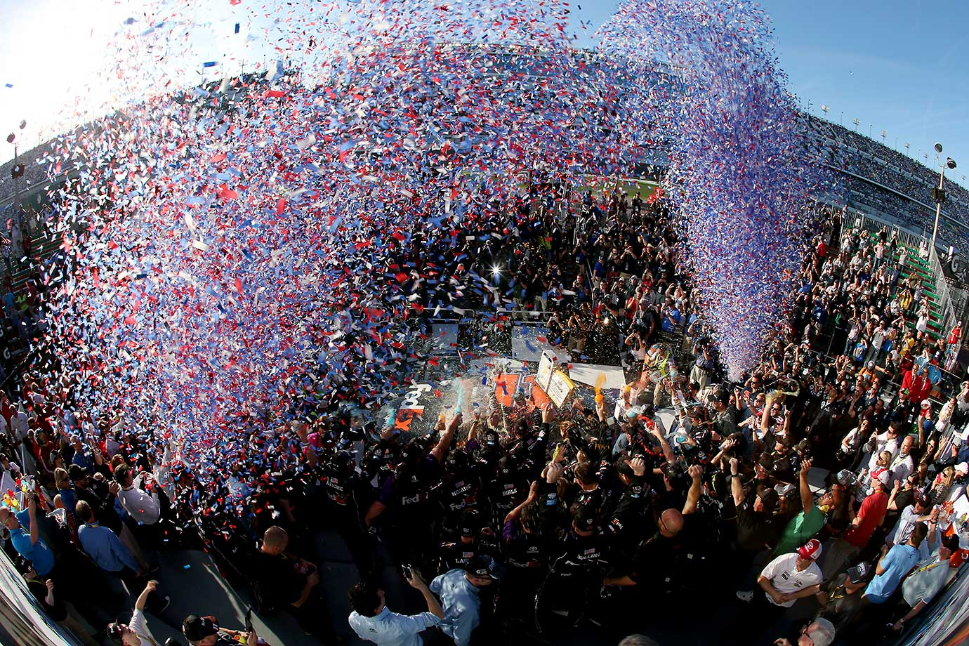 Denny Hamlin celebrates in Victory Lane after giving Toyota it's first Daytona 500 victory.
