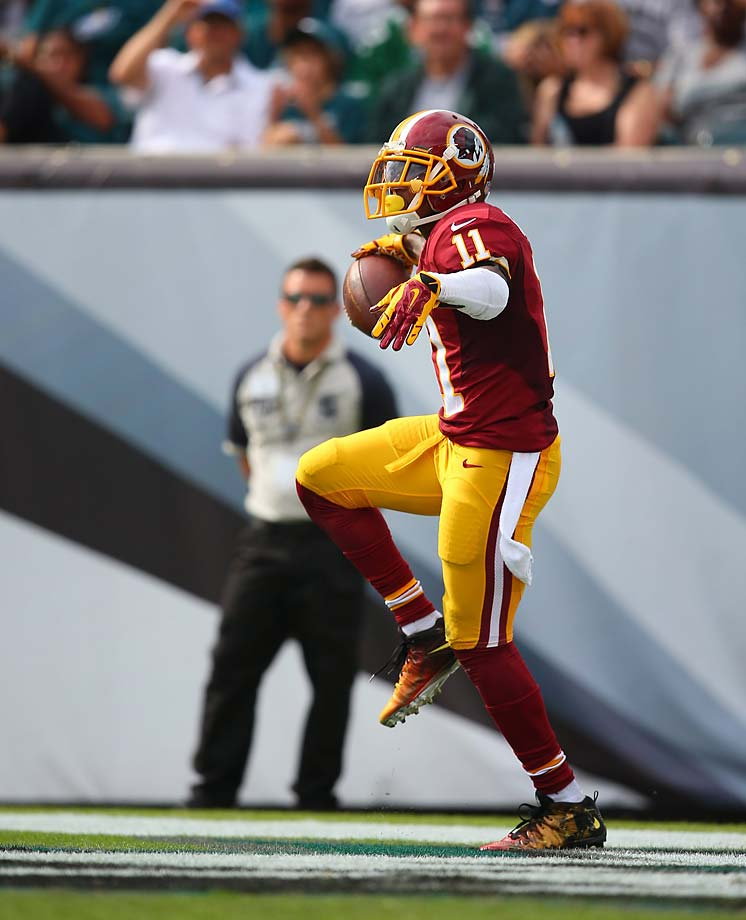 DeSean Jackson mocks his former team after scoring a touchdown.