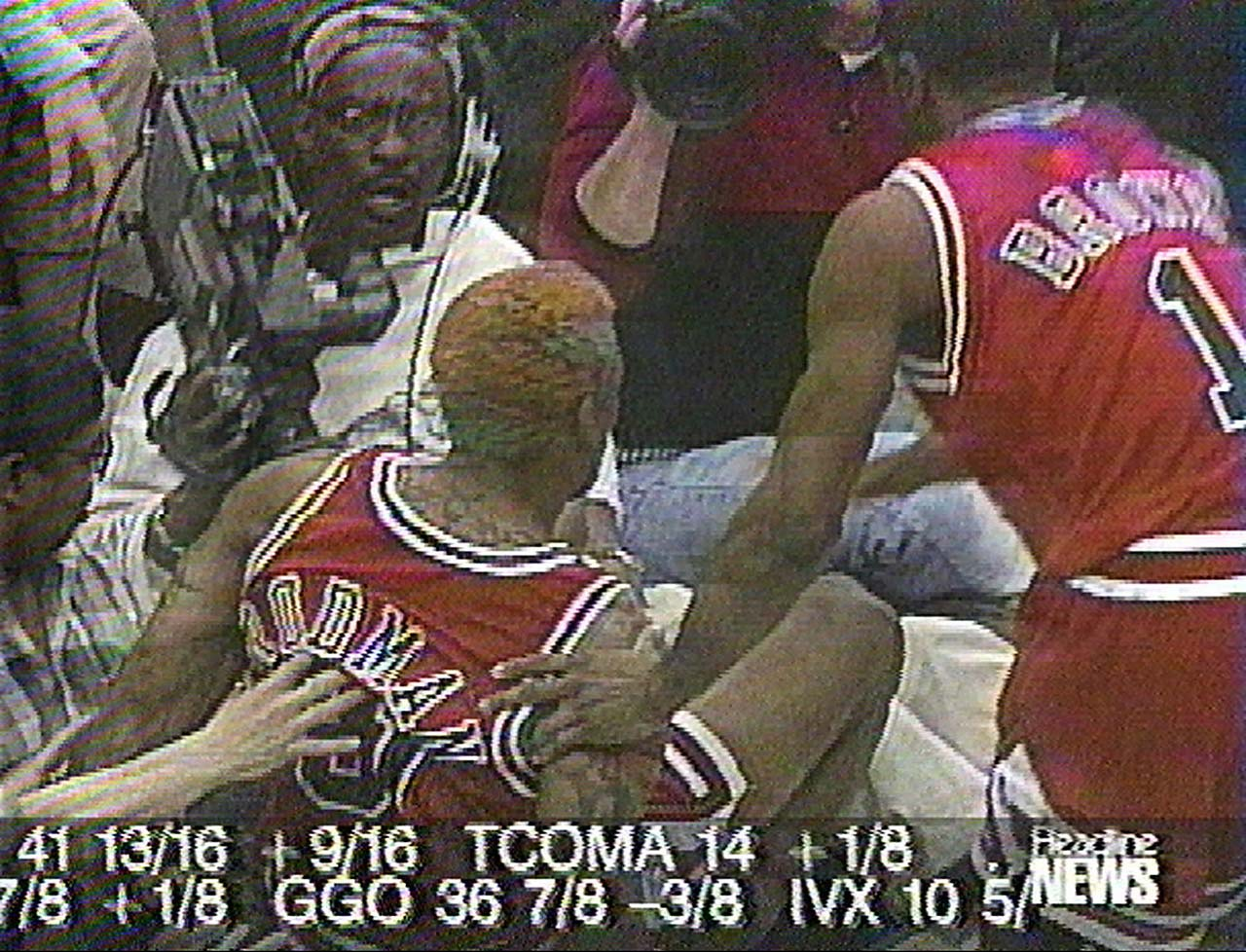 Dennis Rodman kicked cameraman Eugene Amos in the groin during a game against the Minnesota Timberwolves in 1997. Amos was carried from the court on a stretcher before being treated at a hospital.