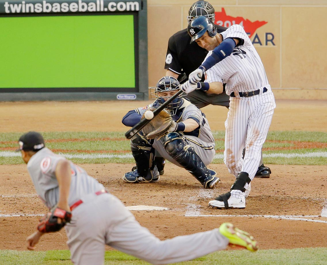 In his final All-Star Game at-bat, Derek Jeter lines a single to right field at Target Field in Minneapolis.