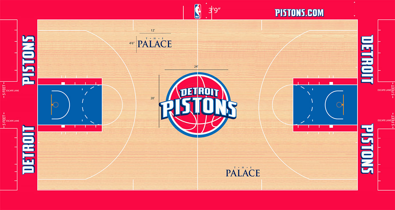 The Pistons feature one of the largest logos in the league. And those logo colors play throughout the floor, with a blue key outlined in red and a red out of bounds area.