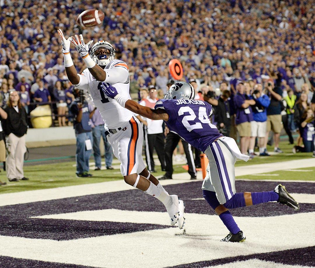 Auburn wide receiver D'haquille Williams makes a touchdown catch against Nate Jackson of Kansas State.  Auburn won 20-14.