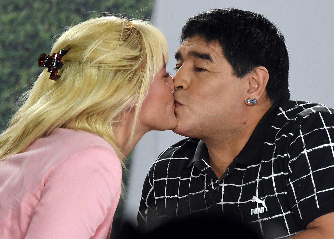 Diego Maradona is a little more accurate with his target.