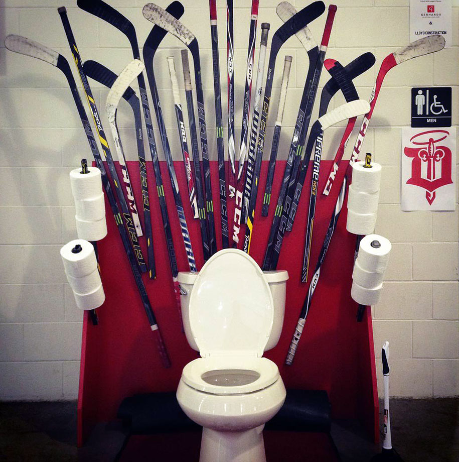 The Dubuque Fighting Saints of the USHL held a Game of Thrones Night on March 28, 2015, allowing fans, who were asked to bring toilet paper for shelters in the area, to take pictures with a porcelain throne.