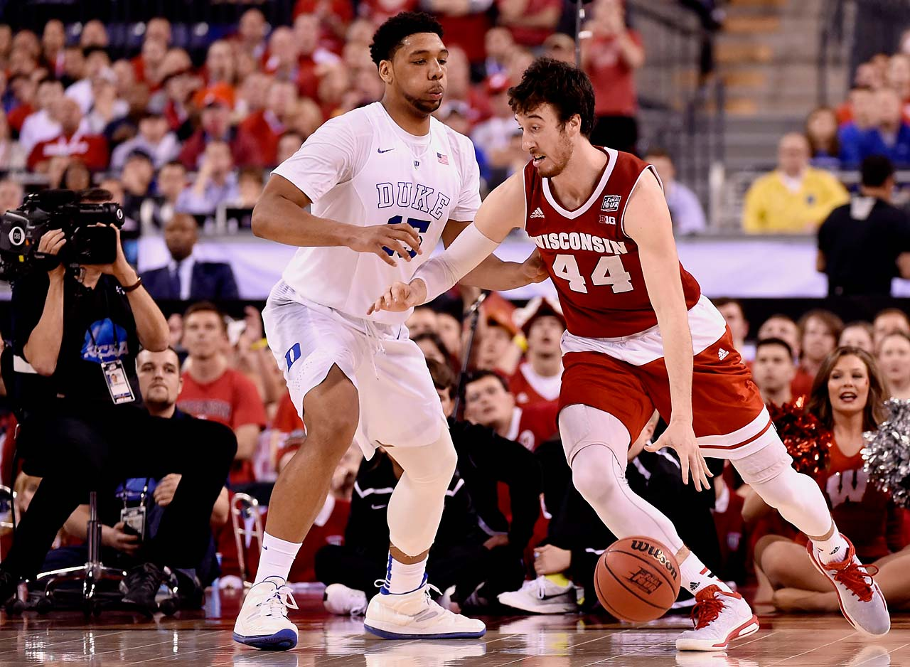 Wisconsin's Frank Kaminsky got the better of Duke's Jahlil Okafor in a battle of All-Americans. Kaminsky tallied 21 points and 12 rebounds in his team's loss.