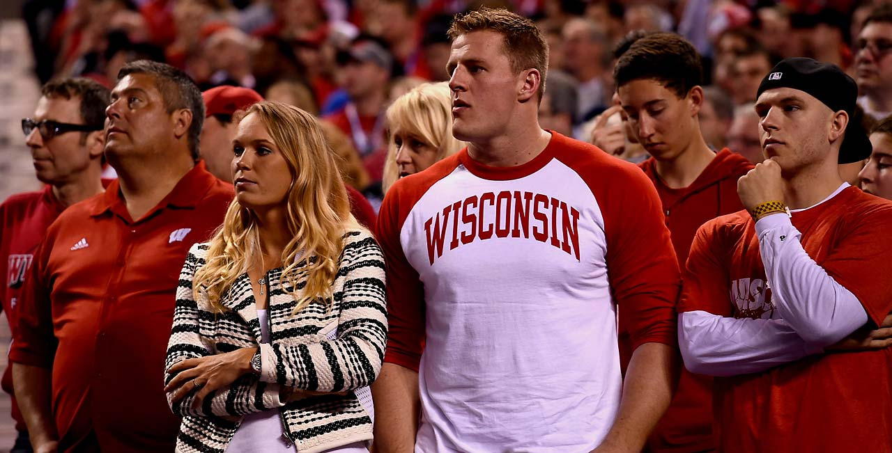 Wisconsin alum and Houston Texans star J.J. Watt left disappointed Monday, as his alma mater lost 68-63 at Lucas Oil Stadium.