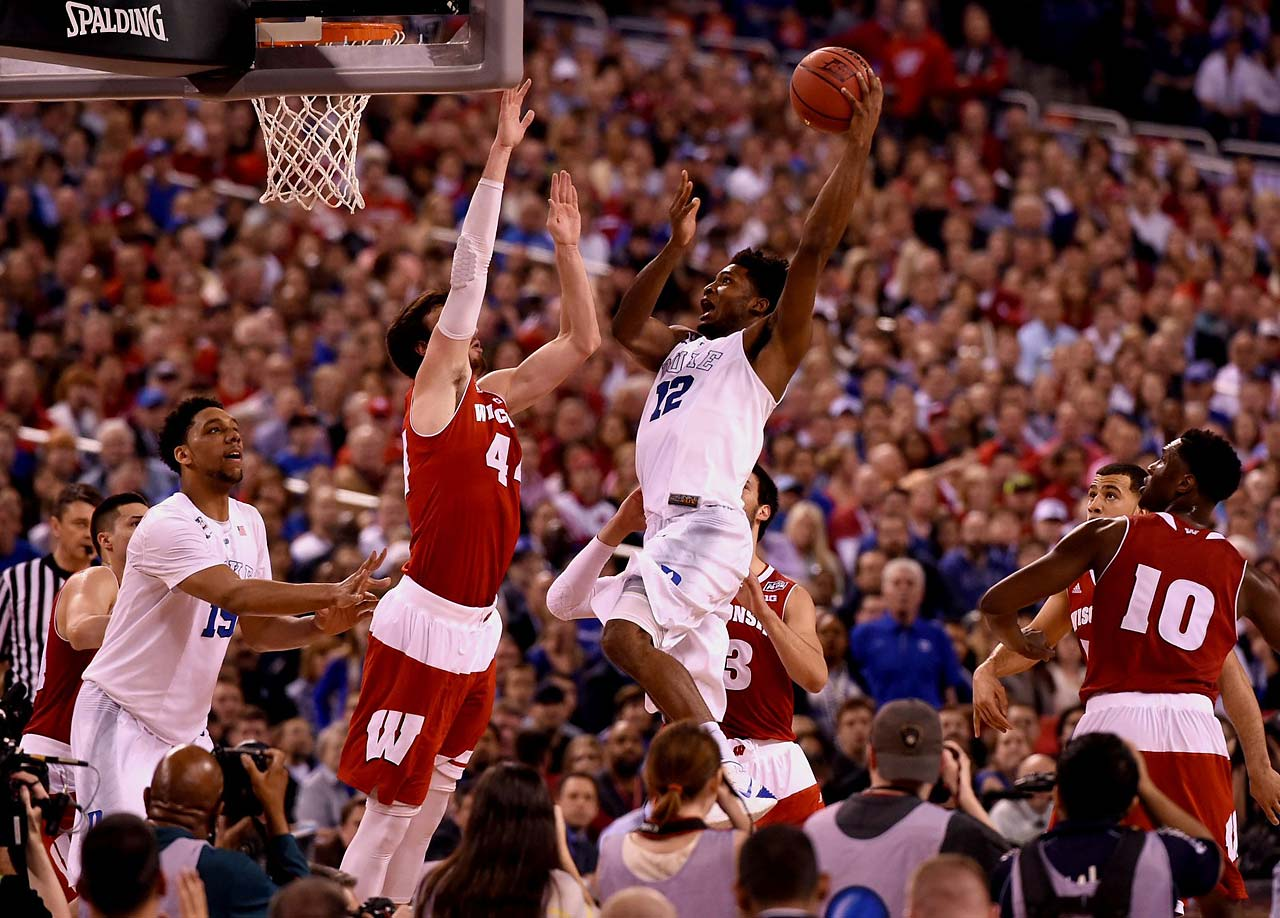 Duke forward Justise Winslow soars toward the basket. Despite shooting only 3-9 from the field, Winslow managed 11 points and added nine rebounds.
