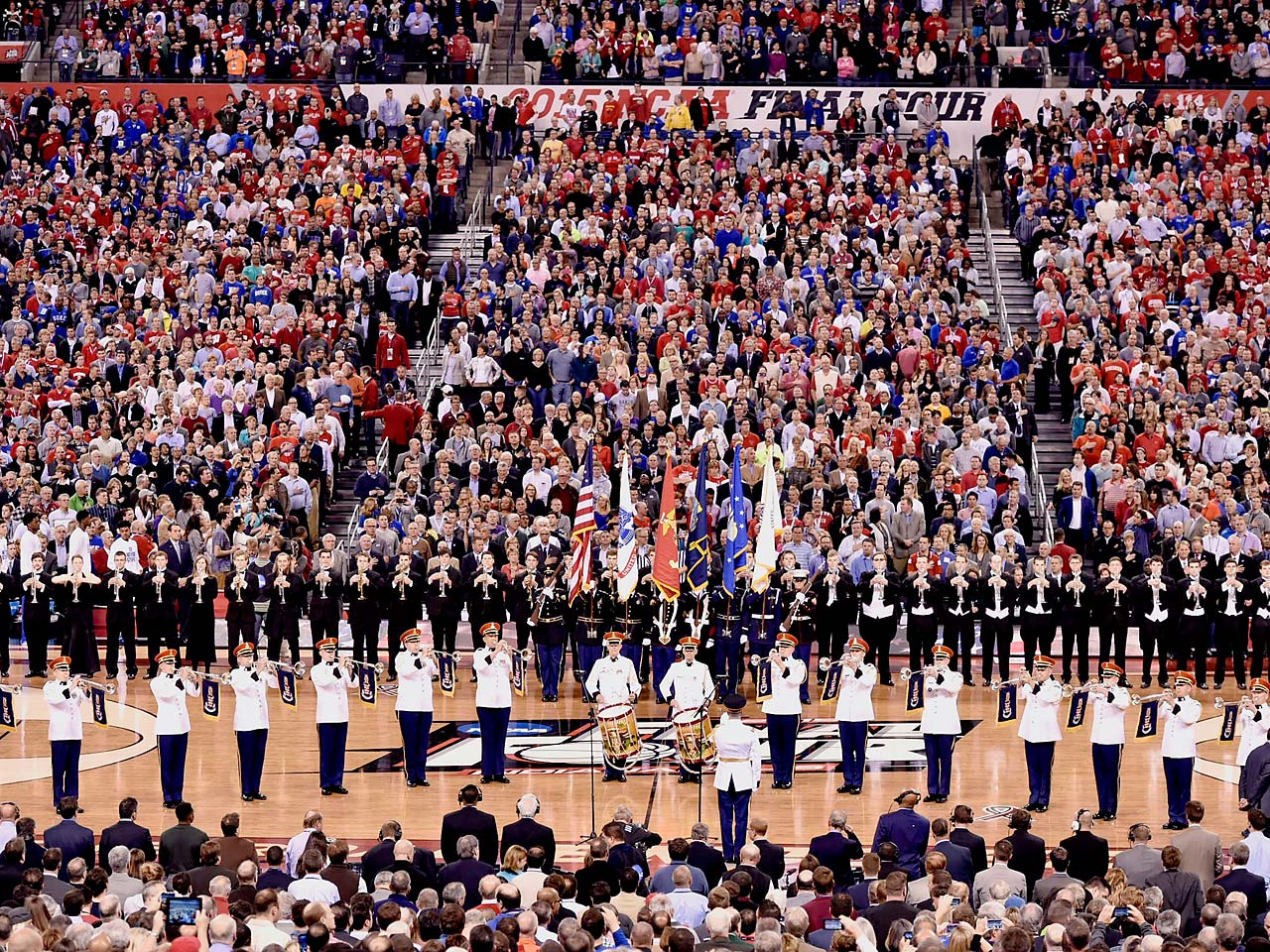 The U.S. Army band performs the Star Spangled Banner before Wisconsin and Duke's national title game matchup.