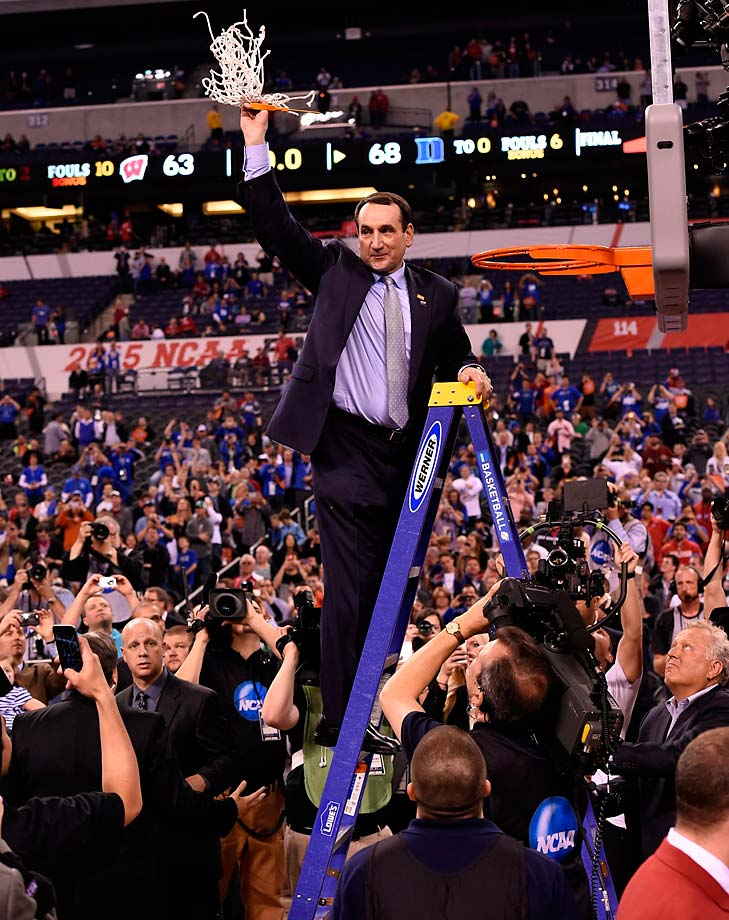 Duke coach Mike Krzyzewski cuts down the Final Four nets for the fifth time as Duke head coach. The 2015 title pushed Krzyzewski past Adolph Rupp into sole possession of second place on the list of championship-winning coaches, behind only John Wooden with 10.