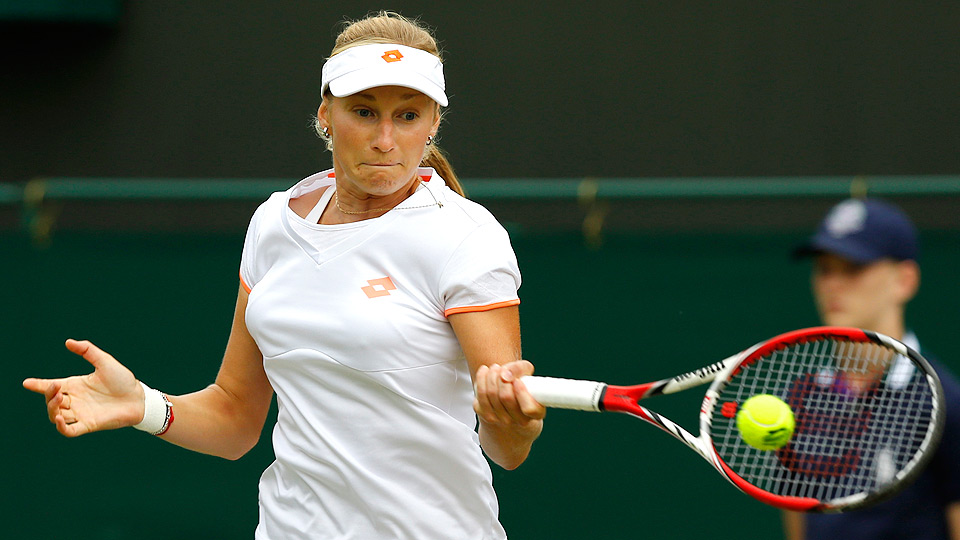 Ekaterina Makarova held Agnieszka Radwanska to just three games during their fourth-round match at Wimbledon.