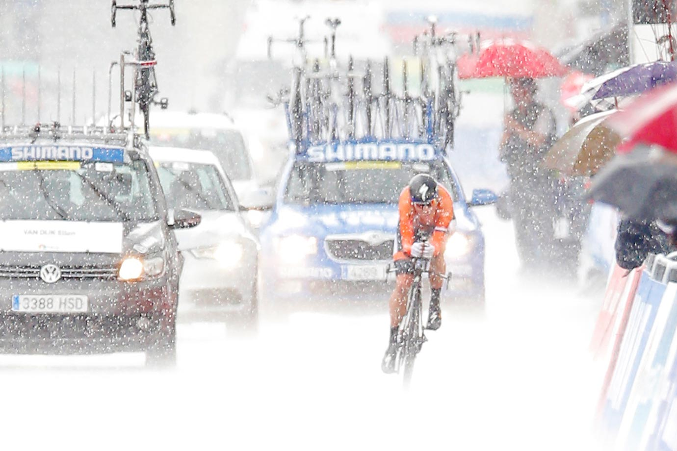 Defending champion Ellen van Dijk of The Netherlands competes in pouring rain to take a seventh place in the individual time trial event at the Road Cycling World Championships in Ponferrada, northwestern Spain.