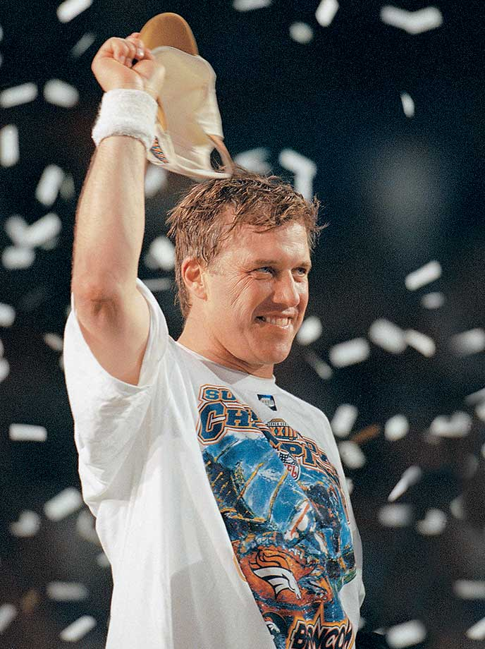 After winning his first Super Bowl in his 14th NFL season, John Elway chose to come back for the 1998 season. The Broncos again made the Super Bowl, and in Elway's final game he threw for 336 yards and one touchdown while also scoring a rushing touchdown in Denver's 34-19 win over Atlanta.