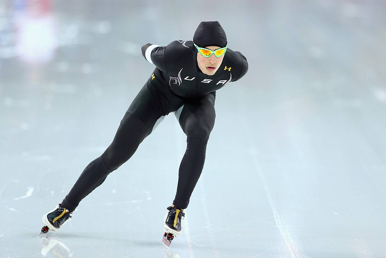 Emery Lehman of the United States competes during the 5000m speed skating event.