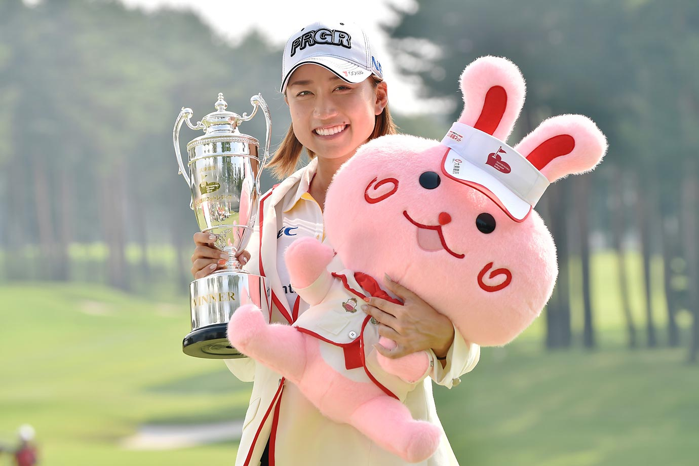 Erina Hara of Japan poses with the trophy after winning the Daito Kentaku Eheyanet Ladies 2015 at the Narusawa Golf Club.