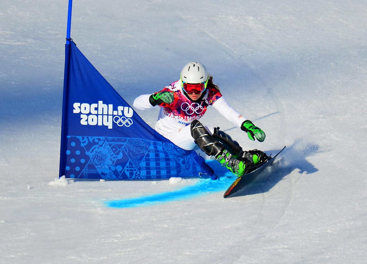 Snowboarder Ester Ledecka of the Czech Republic maneuvers through the course in a qualifier for the ladies' parallell giant slalom.
