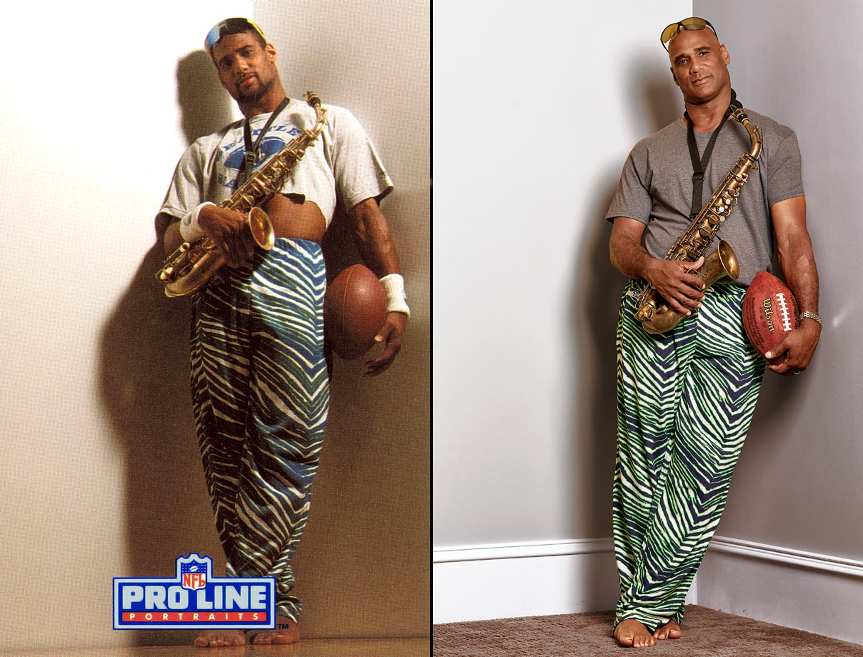 """This was around when the craze for Zubaz pants started, and Zubaz wanted to get in the trading card game. They wanted to show athletes in their natural environment. So I had my Zubaz pants, my sax—during the shoot I just messed around, maybe played some blues scales—no shoes and, of course the shirt to show off the abs. That was just me trying to get my sexy on. . . .  Don't forget: Zubaz in 1991 was a hot commodity. Now, though, most people don't think those pants are too cool anymore. When [my students] see the photo they say, Coach Rob, come on. Look at you, this is kind of corny. That or: Look at you, Coach—you actually had hair!"""