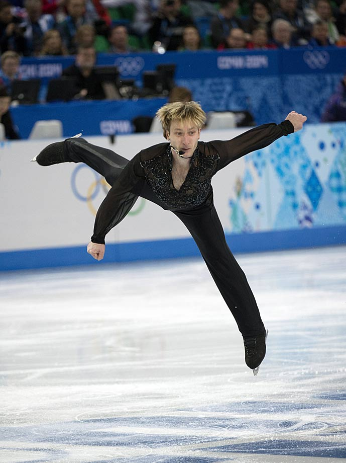Evgeny Plushenko performs during the team competition.