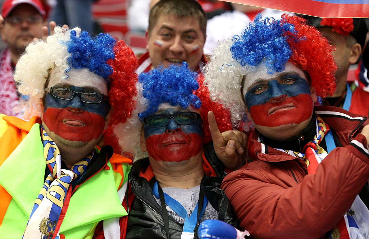 Fans attend the Group A hockey game between Russia and Slovakia.