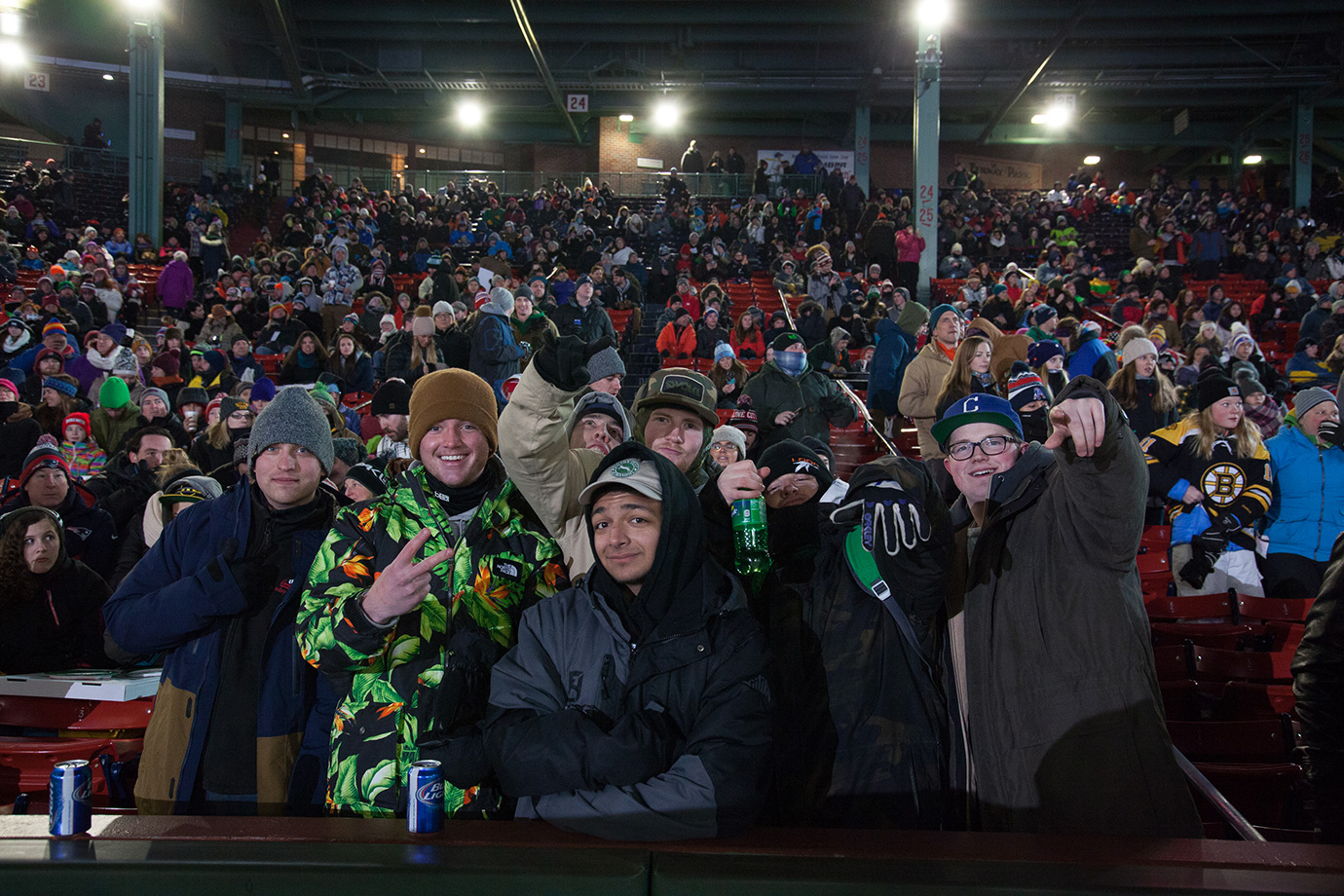 The Boston faithful fill the center of the stadium in anticipation of the skiing Big Air final.