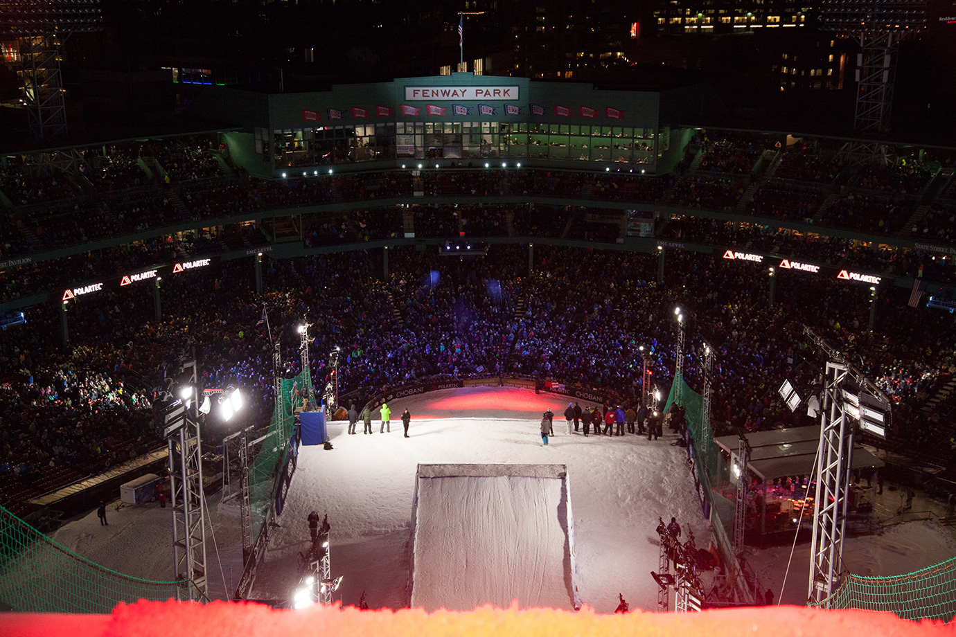 The view of the crowd at Fenway Park from the very top of the Big Air ramp