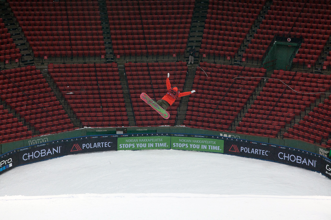 The athletes had a lot of fun with the novelty of holding a big air event in Boston's Fenway Park.