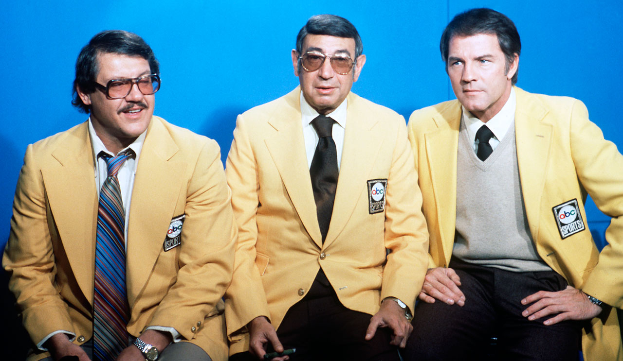 Alex Karras, Howard Cosell and Frank Gifford in 1976.
