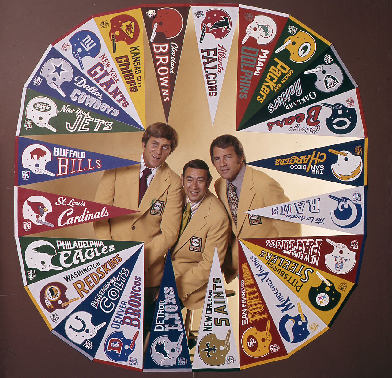 Don Meredith, Howard Cosell and Frank Gifford in 1974.