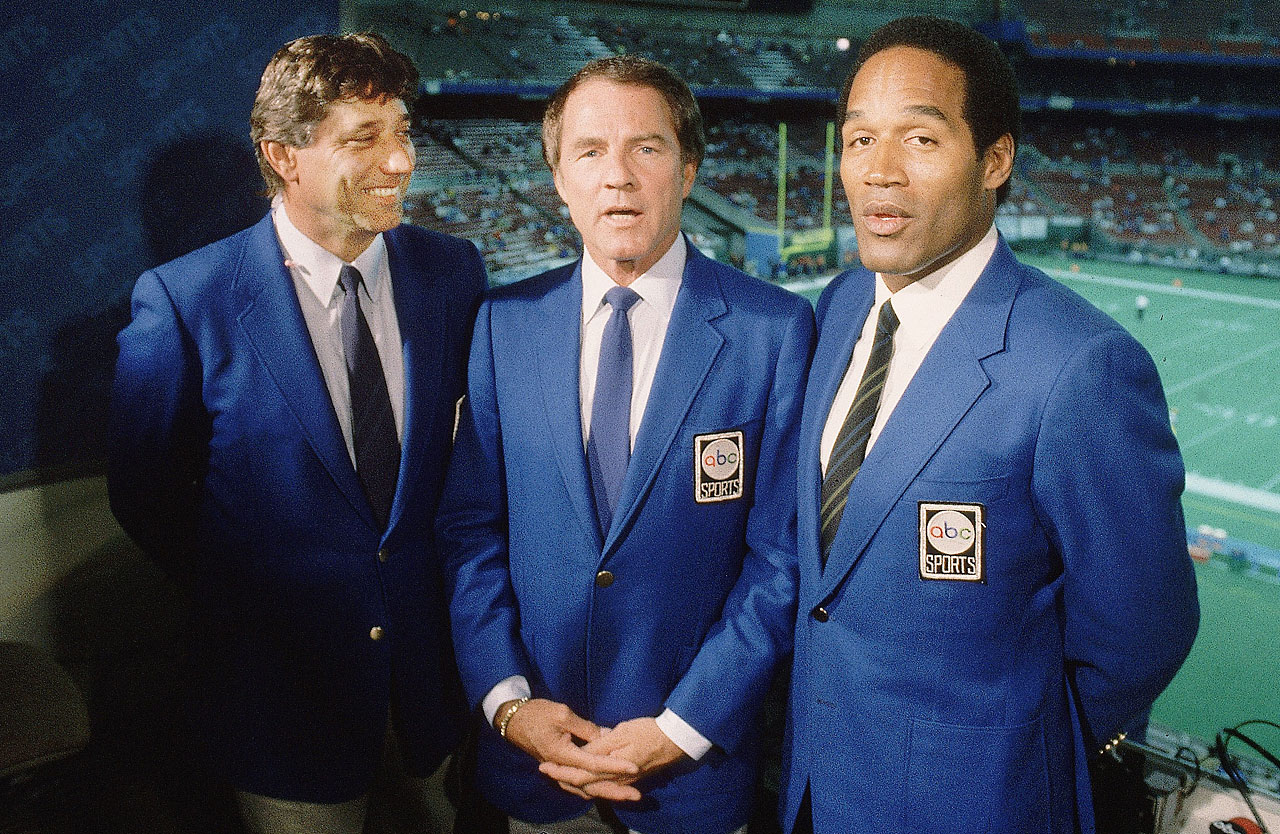 Joe Namath, Frank Gifford and O.J. Simpson in the booth in 1985.