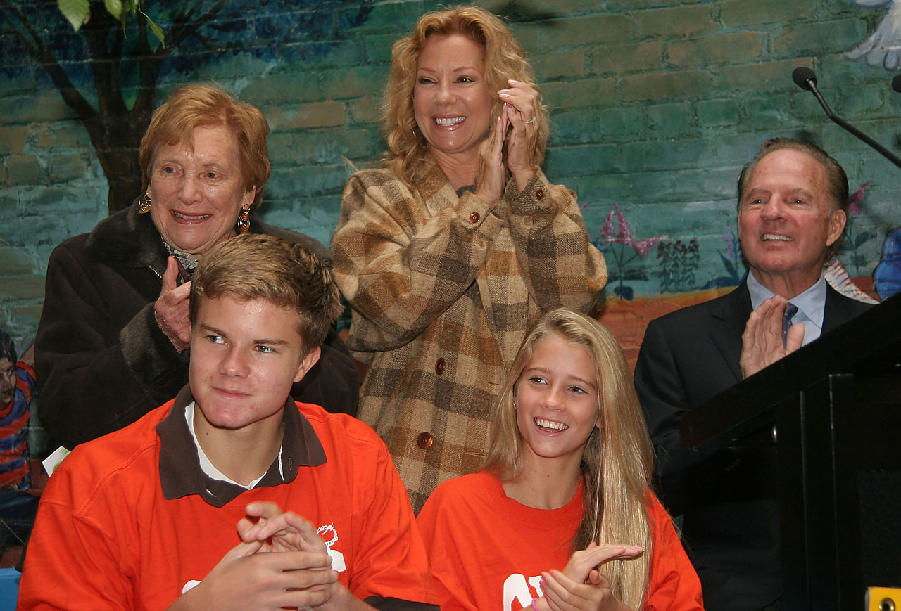 Virginia Sloane, from Heckscher Foundation for Children, Kathie Lee Gifford, Frank Gifford, Cody Gifford and Cassidy Gifford attend the unveiling of a new variety Cody Gifford House Program and Playground in October 2007 in New York City.