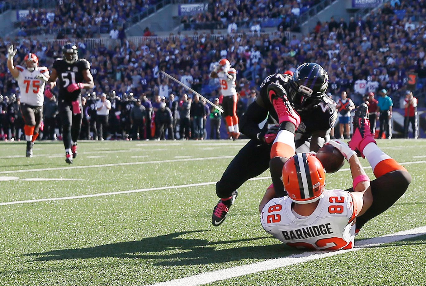 In SI.com's midseason report for the 2015 season, the play of the year honor was given to this unbelievable catch by Gary Barnidge, in which the Cleveland tight end secured an 18-yard touchdown pass with the use of his left ankle, calfs, knees and thighs, while lying prone on the ground.