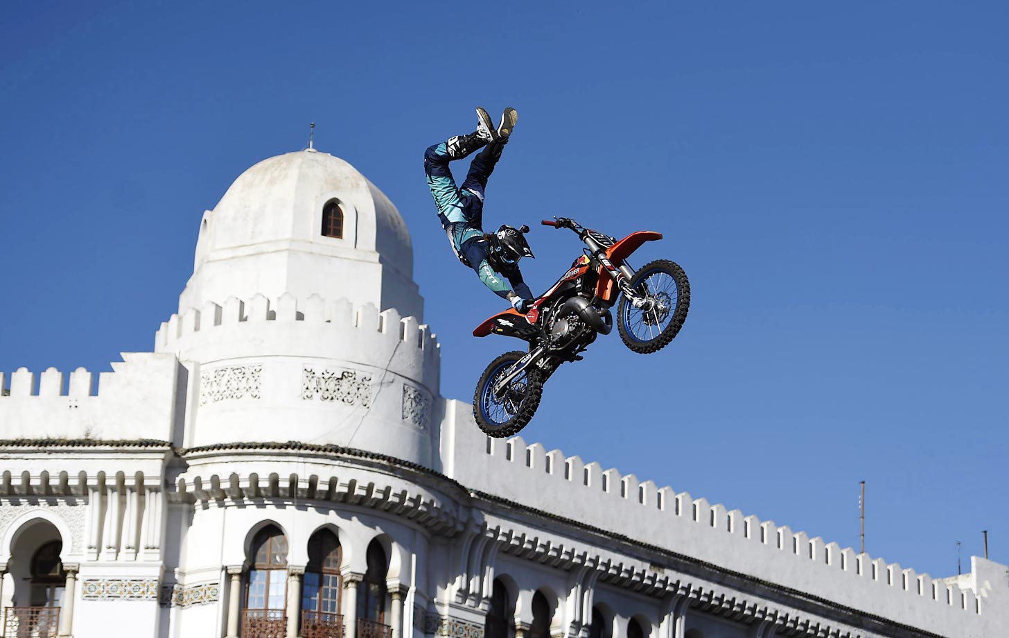 Giles De Jong performs a trick at the Algeria stage of the 2015 Red Bull X-Fighters World Tour.